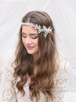 rhinestone and fresh water pearl wedding hair vine wedding tiara bridal headpiece rhinestone silver headpiece