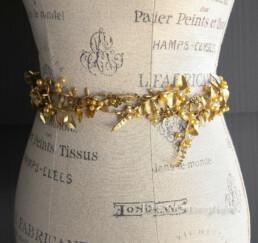 wedding gown sash gold leaves and metal flowers boho rustic wedding dress belt sash
