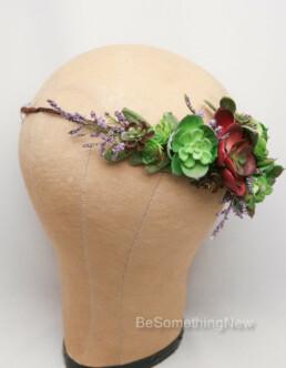 Succulent Flower Crown Wedding Headband, rustic wedding halo wreath