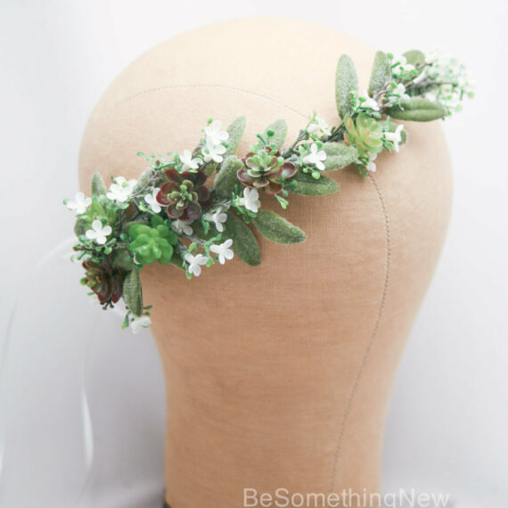 succulent and greenery flower crown for wedding bridesmaids wreath wedding hair halo floral hair vine