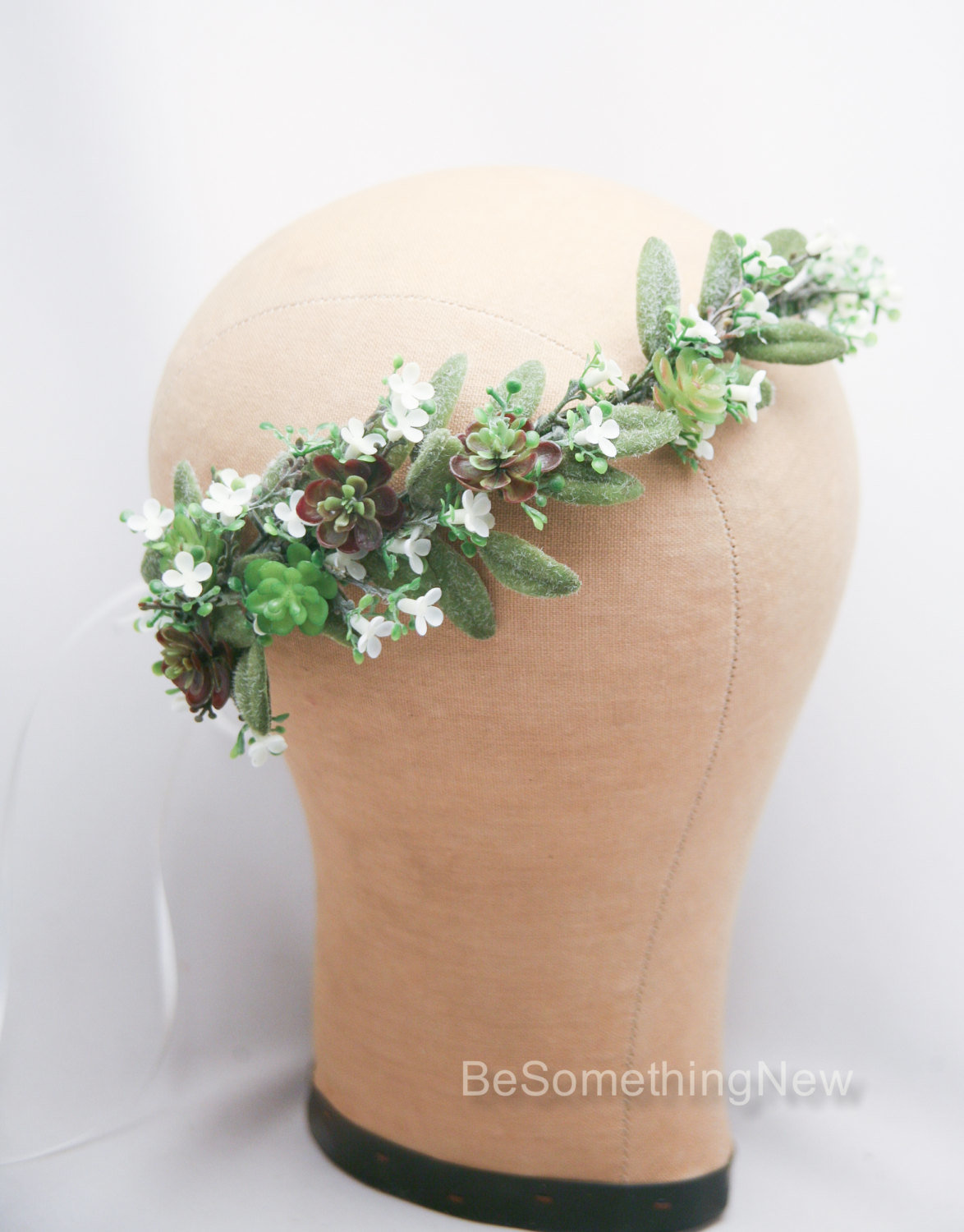 Flower crown of succulents and white flowers floral wedding flower crown of succulents and white flowers floral wedding headband flower headpiece rustic bridal flower wreath of green succulents be something new izmirmasajfo