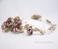 Wedding Rose gold flower crown hair jewelry 2