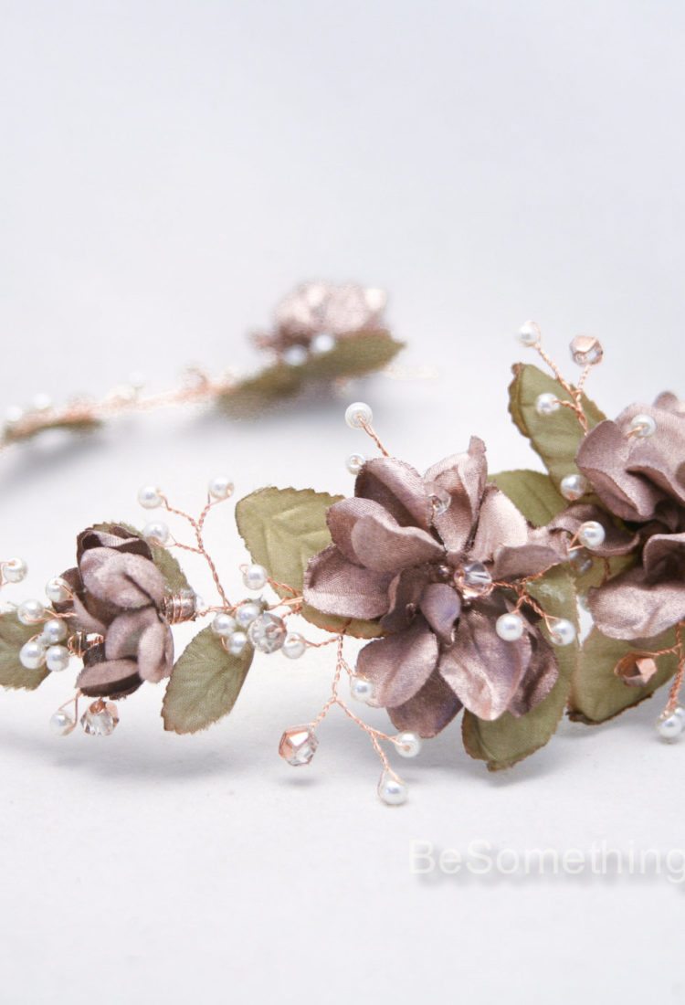 Wedding Rose gold flower crown hair jewelry 1