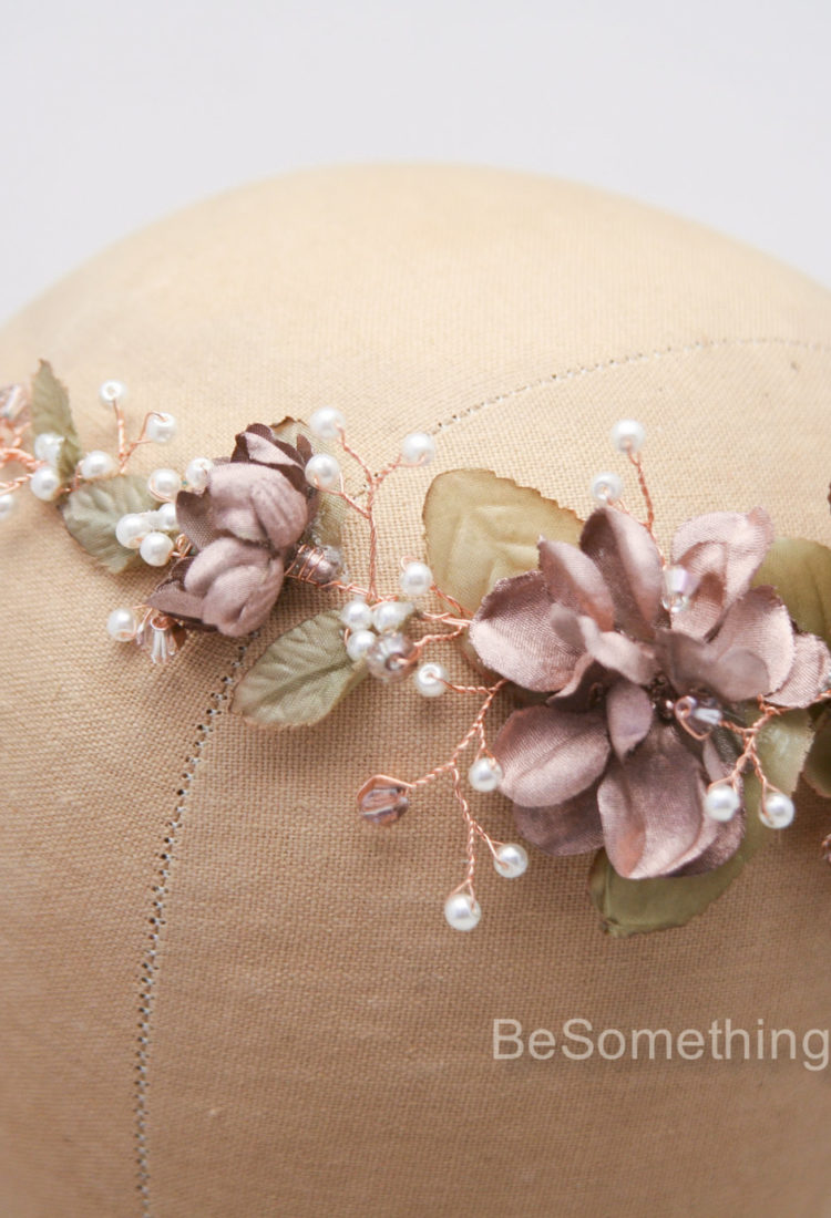 Wedding Rose gold flower crown hair jewelry 3