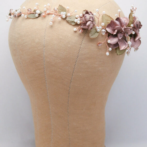 Rose Gold Hair Vine beaded wedding headpiece of flowers and pearls