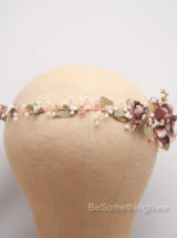 Wedding Rose gold flower crown hair jewelry 4