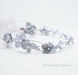 silver flower crown bridesmaid, flower girl halo wedding wreath hair accessories for wedding