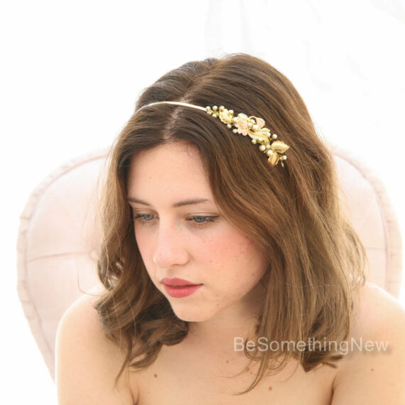 metal headband wedding headpiece gold leaves and painted flower headband