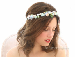 Pastel Flower Crown Wedding Floral Halo in Pink Peach and Blues, flower girl headband halo wreath