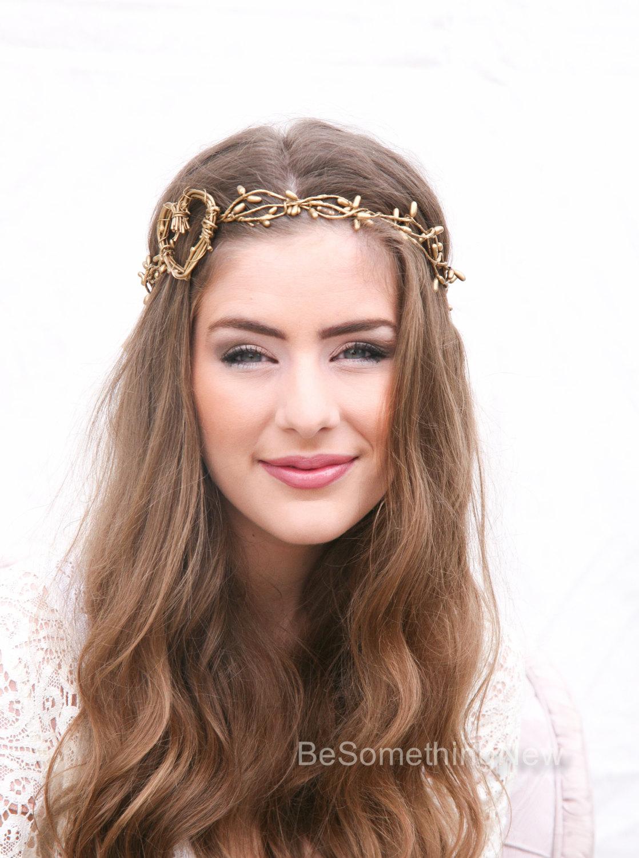 Twisted Golden Berry And Rustic Heart Woodland Wedding Wreath Halo I Tie Headband Black Gold Headpiece Boho Festival Hair