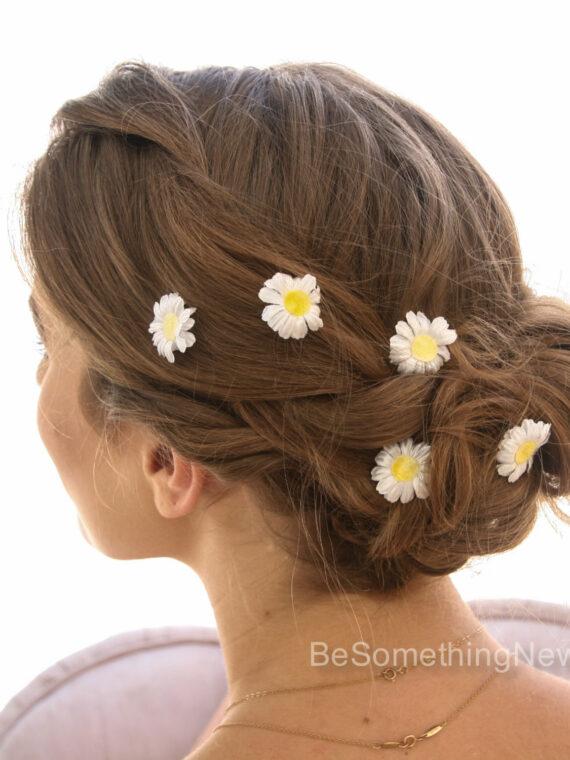 daisy bobby pins flower hair pin set bridesmaids hair hippie weddings