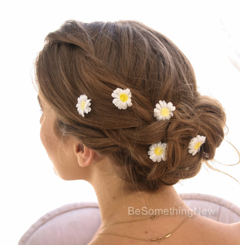 daisy bobby pins flower hair pin set bridesmaids hair hippie weddings