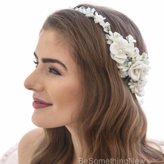 vintage flower crown ivory rose wedding headband bridal headpiece