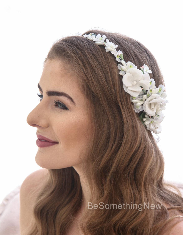Ivory flower crown of vintage flowers wedding rustic floral halo vintage flower crown ivory rose wedding headband bridal headpiece izmirmasajfo