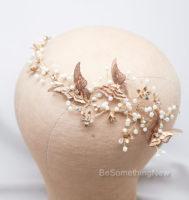 gold metal butterfly headband wedding headpiece gold hair vine