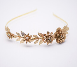 gold leaf and flower headband wedding tiara