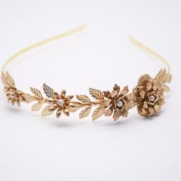 gold leaf and flower headband wedding tiara