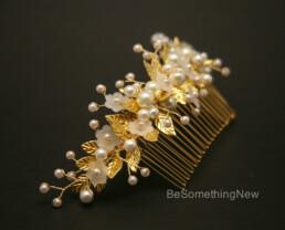gold metal bridal hair comb wedding headpiece beaded gold hair clip