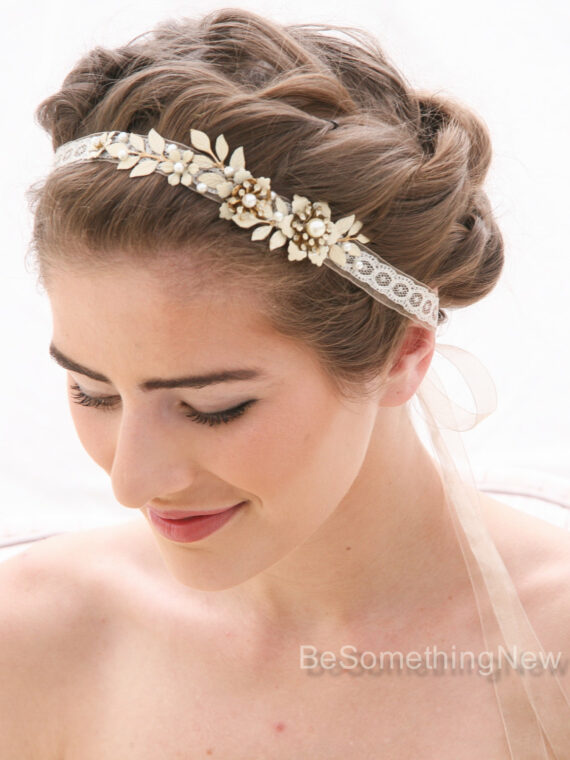 wedding headband in ivory and champagne with metal leaves and flowers
