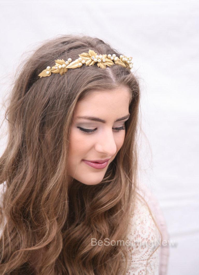 gold metal headband wedding headpiece metal leaves