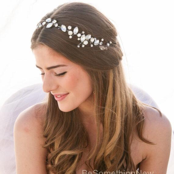 rhinestone hair vine wedding headpiece bridal rhinestone wired headband