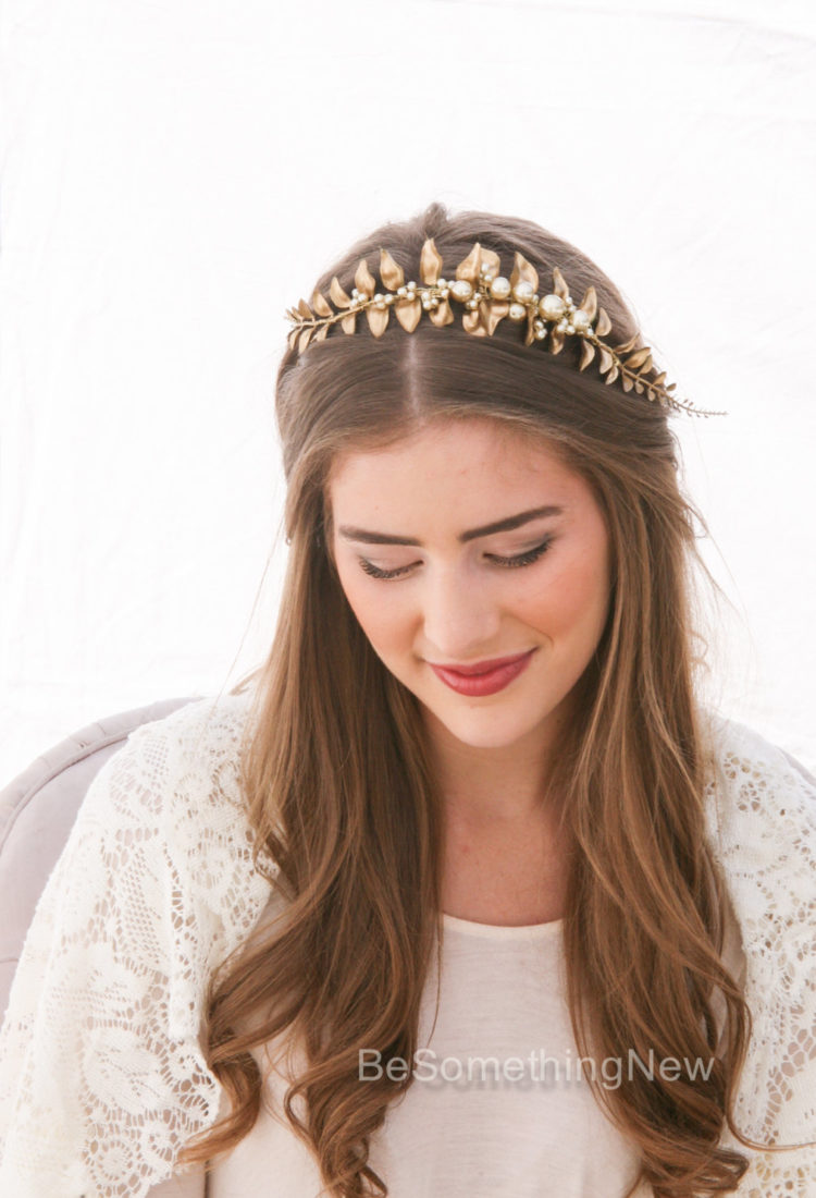 gold headband of a gold leaf with peals flower crown