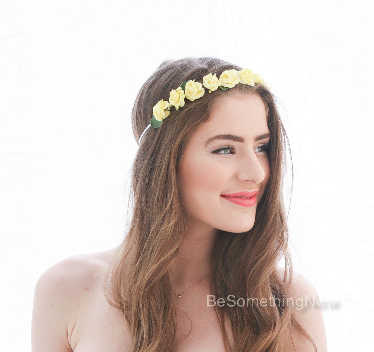 Yellow Vintage Rose Flower Crown Floral Headband Bridesmaids Hair