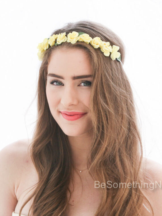 flower crown vintage yellow floral wreath bridesmaid headband flower girl halo