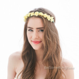 flower crown vintage yellow floral wreath bridesmaid headband flower girl halo