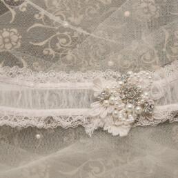 Shear Lace Garter, Shear Wedding Garter with Lace Pearls and Rhinestones, Beaded Bridal Garter lace garter for the bride in white with pearls