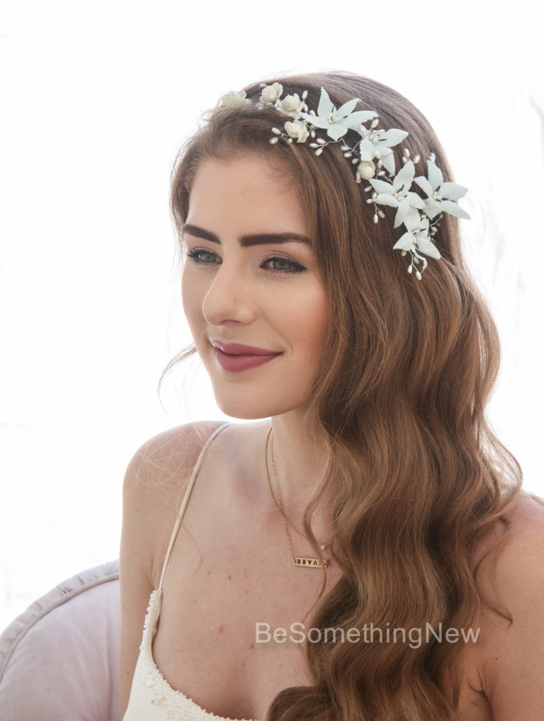vintage flower crown blue floral wedding headpiece