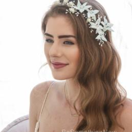 vintage flower crown blue floral wedding headpiece