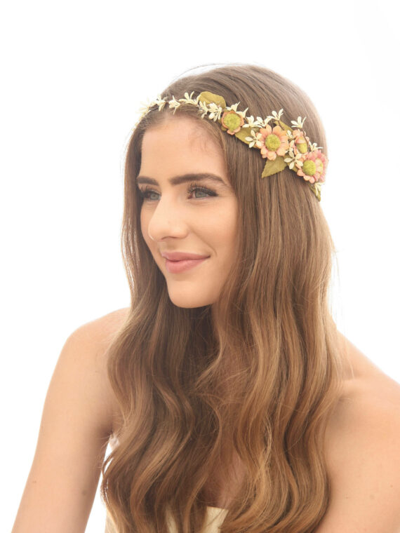 rustic wedding flower crown peach and ivory floral halo with daisies flower  crown festival hair engagement 9ba4895f097