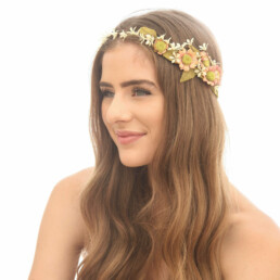 rustic wedding flower crown peach and ivory floral halo with daisies flower crown festival hair engagement photos