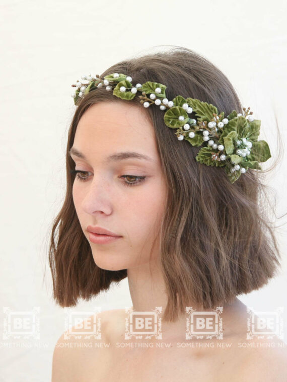 green flower crown rustic wedding headpiece bridal headpiece floral halo bridal headband vintage headpiece