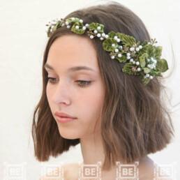green flower crown rustic wedding headpiece bridal headpiece floral halo bridal headband vintage headpiece
