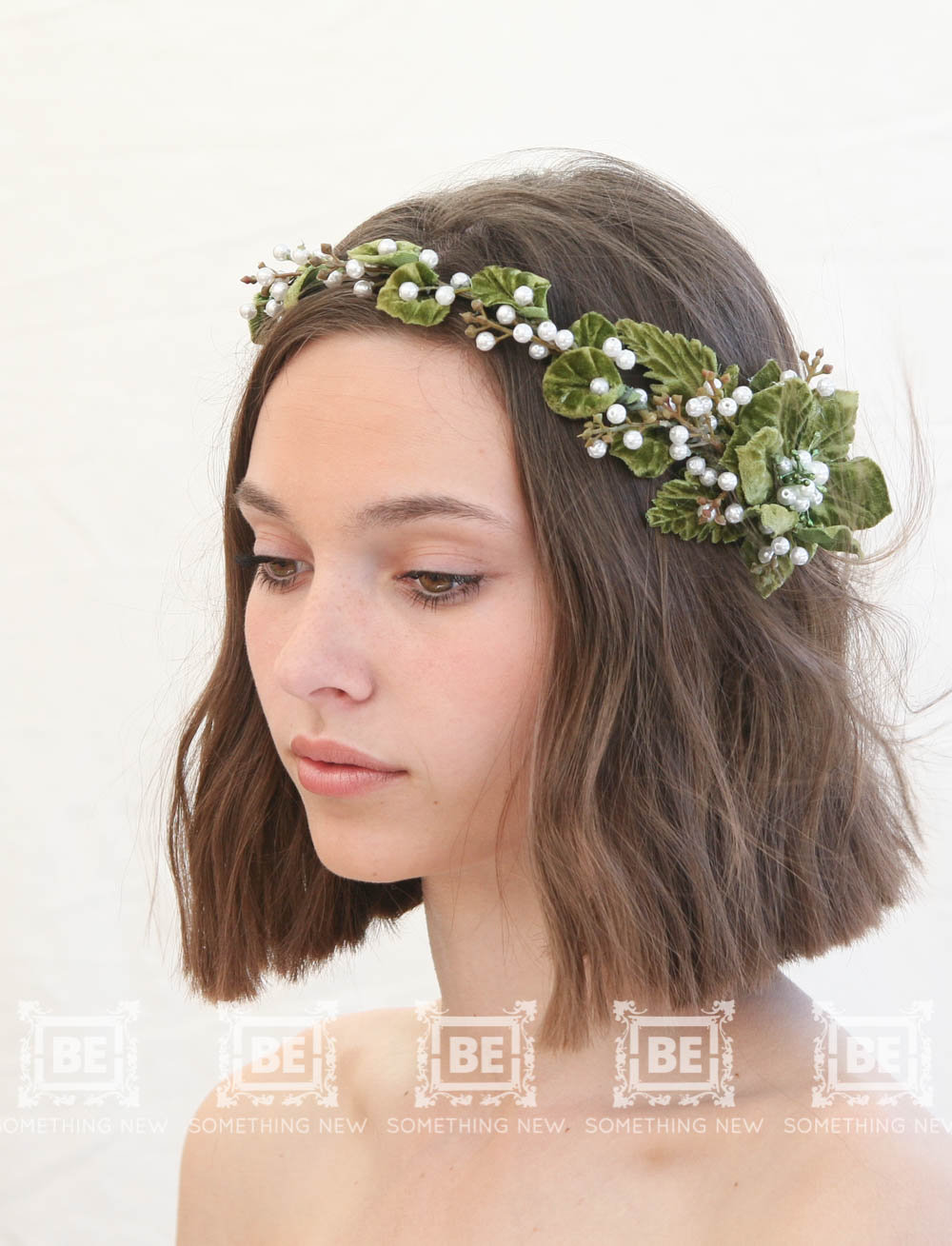 Green Flower Crown Rustic Wedding Headpiece Bridal Fl Halo Headband Vintage Next