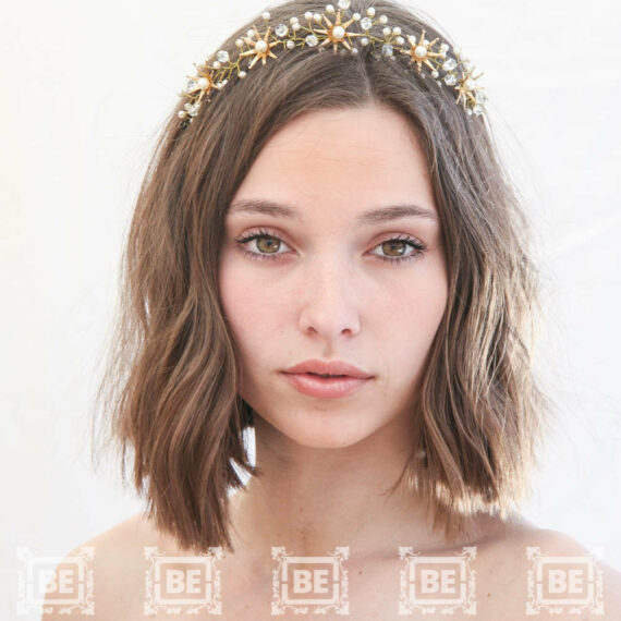 gold metal tiara wedding headpiece gold flower crown