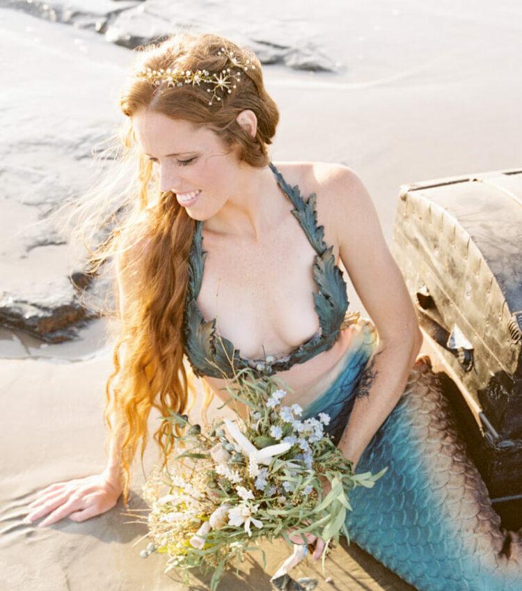 mermaid hair beach wedding fold tiara