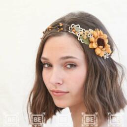 sunflower wedding flower crown rustic wedding headpiece