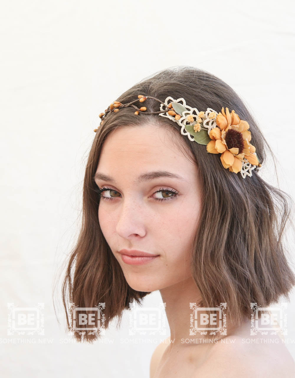 Gold sunflower flower crown with vintage lace wedding hair floral sunflower wedding flower crown rustic wedding headpiece izmirmasajfo