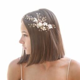 rose gold wedding hair comb, wedding headpiece, beaded hair comb, blush pink hair comb, bridal headpiece,