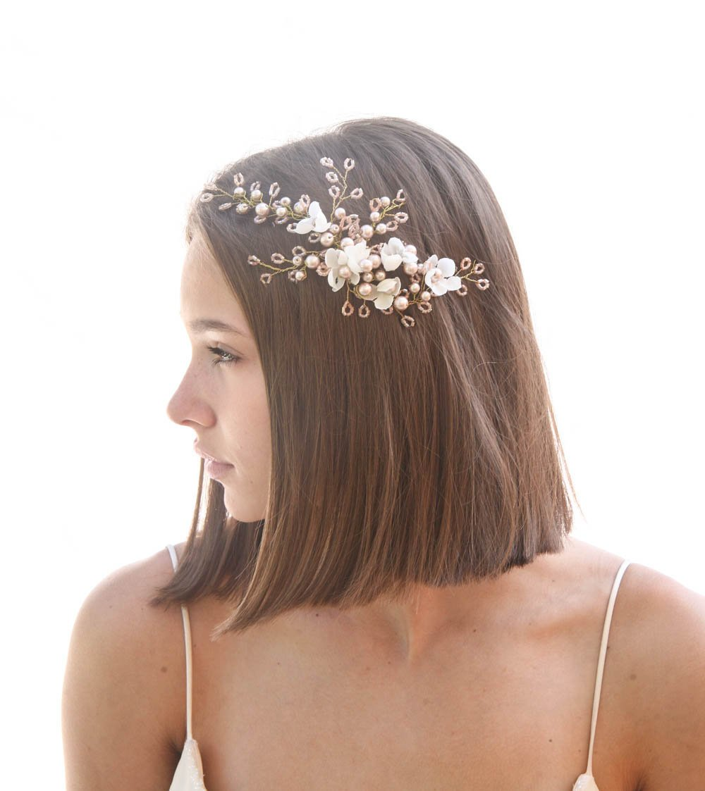 667a1250328 Rose Gold Wedding Headpiece with Ivory Flowers and Wired Crystals ...