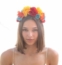 Mexican Flower Crown in Bright Colors, Day Of the Dead Headband Halloween Hair Accessory Corona de Flores Costume Mexico Frida Kahlo Halo