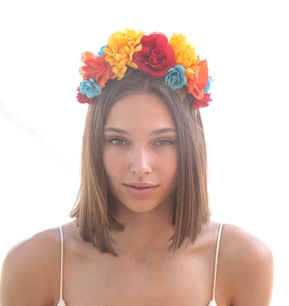 Mexican Flower Crown Frida Kahlo Floral Headband Day Of The Dead