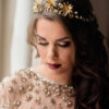 gold tiara celestial wedding headpiece flower crown