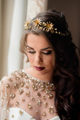gold tiara celestial wedding headpiece flower crown
