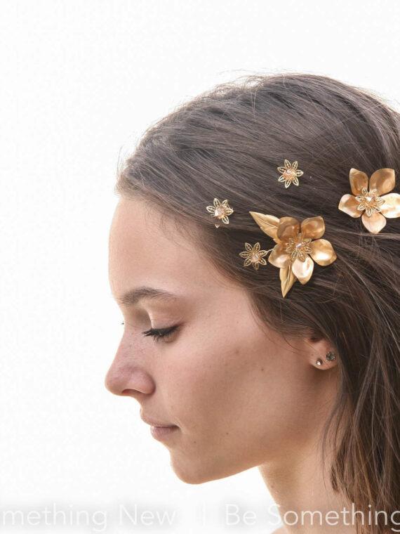 bobby pin set gold metal flowers hair pin set wedding hair pins