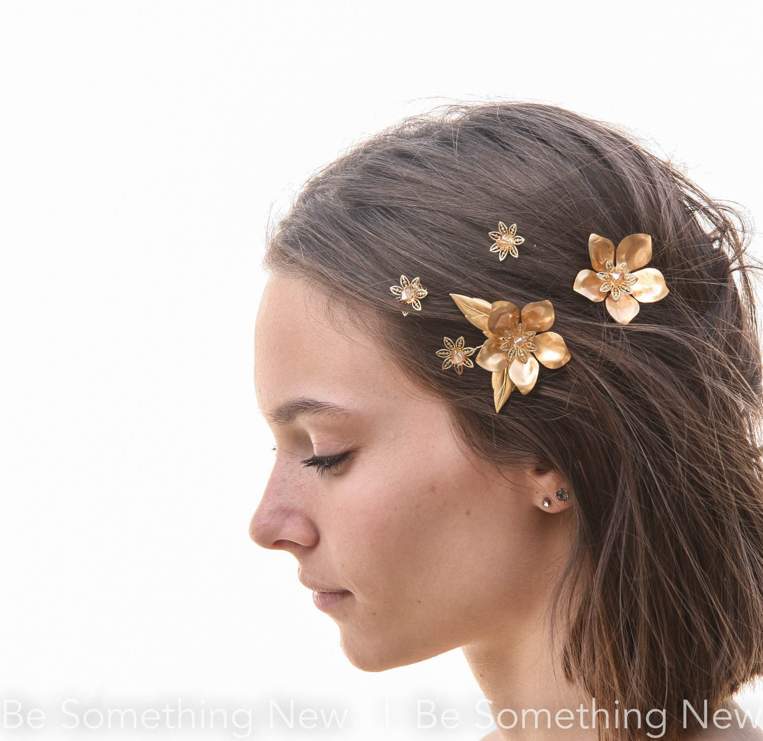 Gold Flowers And Leaves Bobby Pin Set Be Something New