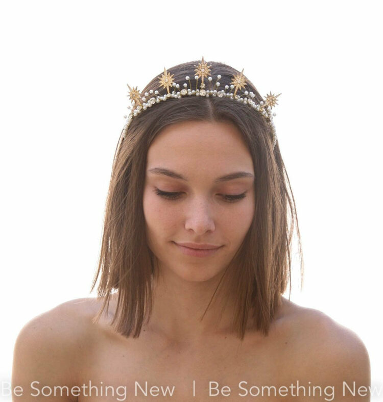 Gold Star Celestial Wedding Crown Wedding Tiara star tiara